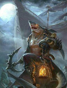 WereShark Pirate - Pathfinder PFRPG DND D&D d20 fantasy