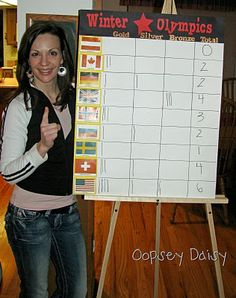 "Have each kid pick a country to keep track of their winning medals throughout the Olympics.  For our ""Olympic Games Day"" where we play games, each kid can represent their country, make a flag for their country, tell something they researched about their country, and we can record wins for the Game Day"