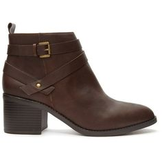 Forever 21 Women's  Buckled Faux Leather Booties ($35) ❤ liked on Polyvore featuring shoes, boots, ankle booties, vegan booties, platform booties, forever 21 boots, vegan leather boots and forever 21