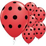 11 Red Black Polka Dots Latex Balloons 25pk Suitable for air or helium inflation please see our range of disposable canisters Colour Red with Black
