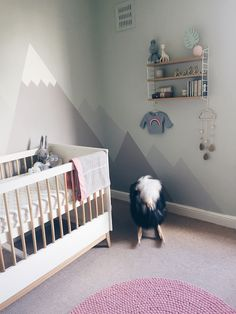 A Gender Neutral Pastel Nursery with Mountain Mural - J for Jen