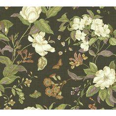 "York Wallcoverings Williamsburg Garden Images 27' x 27"" Floral and Botanical Wallpaper Color: Black"