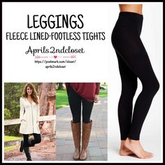 "⭐️⭐️ LEGGINGS FLEECE Footless Tights  NEW WITH TAGS  SIZE: M/L  Black PLUSH FLEECE LINED LAYERING LEGGINGS/Footless Tights * Incredibly comfortable & high quality. Solid black.  * Ideal for layering  * Will not fade or shrink; Machine wash.  * Tagged size M/L will approx. fit 5'5""-5'11"" and 130-180 LBS * Super Soft & Cozy; Stretch-To-Fit Style   Fabric: 93% Polyester & 7% Spandex Color: Jet Black ITEM#B91800 ✅ Bundle Discounts ✅ No Trades  Note: photo may not reflect listing size Boutique…"