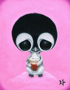 Sugar Fueled Penguin Animal Hot Cocoa Lowbrow Pop Surrealism Art Print $12 www.sugarfueled.bigcartel.com