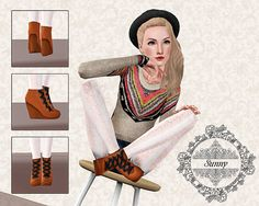 Wedge high heel boots Sims 3 shoes - zapatos ♛
