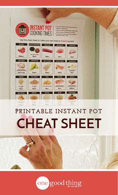 Download a FREE printable PDF cheat sheet listing the Instant Pot cooking times of many common foods. Hang it up in your kitchen for easy reference!