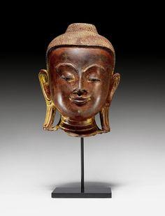 FEINER KOPF DES BUDDHA. Burma, Shan-Stil, 18. Jh. H 26 cm.