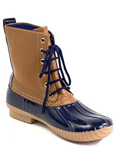 AVANTI Womens 2 Tone Lace Up Combat Style Rain Duck Boots. 10 Hot Design Colors To Choose From .Actual coloring may vary slightly from picture. Wear them as rain boots, fashion boots or just to dress up for the night out. Lace up For That Perfect Fit And Comfortable. Fits True to Size. For Half Sizes Order A Size Up. Synthetic Rubber. Polyurethane Shaft.