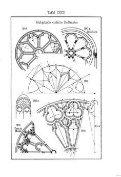 Gothic window details - From a German book on Gothic pattern construction. Sacred Architecture, Architecture Drawings, Classical Architecture, Architecture Details, Architecture Quotes, Gothic Pattern, Gothic Windows, Gothic Art, Architectural Elements