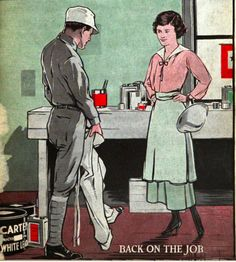 This 1917 Carter White Lead paint ad suggests a painter coming home from war, immediately putting on his painting overalls with his wife watching.