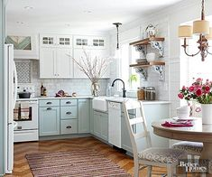 Kitchen Makeover Gorgeous Small Kitchen Remodel Ideas 33 - Remodeling your small kitchen shouldn't be a difficult task. When you put your small kitchen remodeling idea on paper, just […] White Cottage Kitchens, Home Kitchens, Tiny Kitchens, Cottage Kitchen Cabinets, Kitchen Sinks, Luxury Kitchens, Kitchen Backsplash, Small Cottage Interiors, Cottage Kitchen Decor