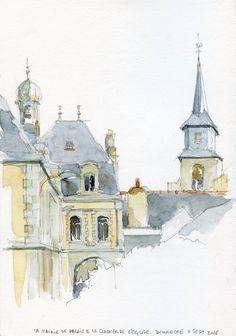 La mairie de Palais et le clocher de l'église