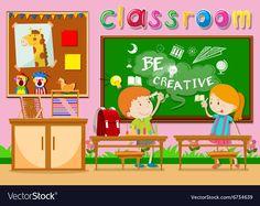 Children studying in the classroom Royalty Free Vector Image Free Vector Images, Vector Free, Color Activities, English Vocabulary, Bird Art, Art Education, Adobe Illustrator, Children, Kids