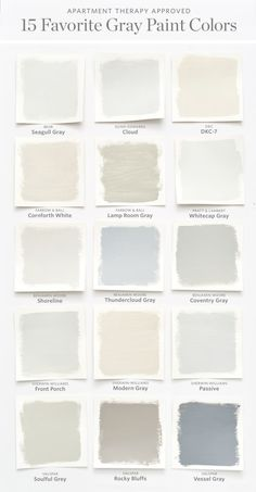 Color Cheat Sheet: The Best Gray Paint Colors   Apartment Therapy. Need ideas for painting bathrooms and living rooms in neutrals? We love these greys. Both warm and cool options with blues and greens. Perfect for modern farmhouses or to sell a home.