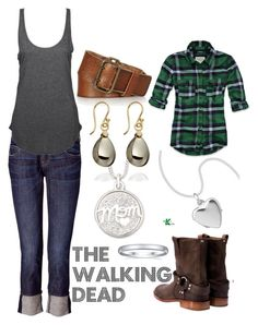 """""""The Walking Dead"""" by wearwhatyouwatch ❤ liked on Polyvore featuring Current/Elliott, Agent Ninetynine, Abercrombie & Fitch, Maison Margiela, Simply Silver, Lanvin, Elizabeth Showers, mel and the walking dead"""