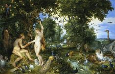 """""""The Earthly Paradise and the Fall of Adam and Eve"""" Jan Brueghel painted the landscape and Peter Paul Rubens painted Adam and Eve and possibly the horse. c 1615. Mauritshuis, The Hague, Netherlands."""