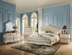 """Acme 23540Q 4 pc chantelle pearl white finish wood rose gold leather like vinyl tufted queen bedroom set. This set includes the Queen bed set, one nightstand, Dresser, Mirror. Queen bed features decorative carvings, tufted headboard and footboard. Queen bed measures 89"""" x 67"""" x 65"""" H. Nightstand measures 30"""" x 18"""" x 31"""" H, Dresser measures 66"""" x 20"""" x 36"""" H. Mirror measures 45"""" x 45"""" H. , Chest available separately at additional cost... Gold Bedroom, Queen Bedroom, Queen Bedding Sets, White Bedroom, Tuscan Bedroom, Royal Bedroom, Bedroom Furniture Sets, Bedroom Sets, Bedroom Decor"""