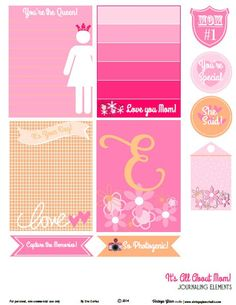 Mom journaling elements or Mom themed pocket scrapbooking free printable download . Free for personal use only for scrapbooking and papercraft projects.