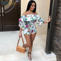 HAOYUAN Ruffle Off Shoulder Sexy Playsuit Backless Summer Body Femme Boho Beach Overalls Bodycon Shorts Rompers Women Jumpsuit Look Fashion, Fashion Outfits, Womens Fashion, Fashion Tips, Ladies Fashion, Feminine Fashion, Fashion Night, 50 Fashion, Cheap Fashion