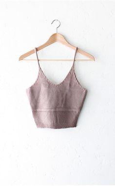 Sweater Knit Crop Top - Taupe