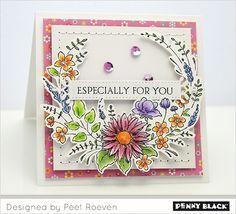 Serie Celebrate van #pennyblack | stempel 40-542 Flower Embrace | stempelset 30-423 Banner Sentiments | die set 51-352 Birds and Banners