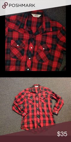 """Vintage Men's Red Pearl Snap Plaid Christmas Shirt Very nice vintage red plaid Cowboy Western shirt. Pearl snap button up. Marked size L Tall Man. Great condition. Chest 46"""" Length 32"""" Sleeves 37"""" Vintage Shirts"""