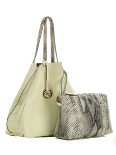 Women's Lime Italian Leather Shopper w/Python Print Pouch