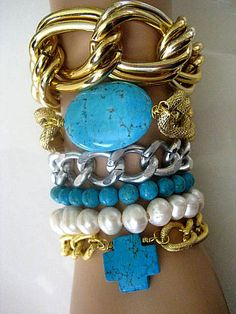 Celebrity Inspired Textured Gold Chunky Curb Chain with Turquoise Gem...Stack 'em Up   by CelebrityTrendz, $16.00