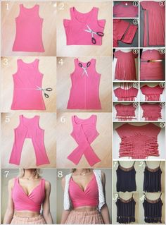 Diy Clothes Tops, Diy Clothes Design, Diy Clothes Refashion, Diy Tops, Sewing Clothes, Diy Cut Shirts, T Shirt Diy, Cut Shirt Designs, Diy Fashion