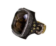 Sevan Bicakci | Owl Carved Smoky Topaz Ring in Rings Stones at TWISTonline