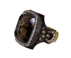 Owl Carved Smoky Topaz Ring