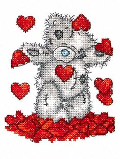 Shower of Hearts - Tatty Teddy - Me to You - counted cross stitch kit Coats Crafts Cross Stitch Boards, Cross Stitch Needles, Cute Cross Stitch, Cross Stitch Heart, Cross Stitch Animals, Counted Cross Stitch Patterns, Cross Stitch Designs, Cross Stitch Embroidery, Embroidery Patterns