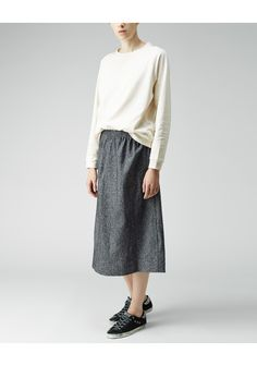 BASE range / Loose Cotton + Wool Skirt | La Garçonne