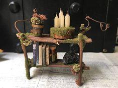 Faery Bookshelf fairy furniture fairy shelf miniature #miniaturefairygardens