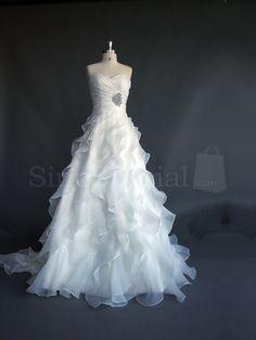Royal A-line Sweetehart Neckline Court Train Chiffon Wedding Dress
