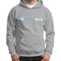 Logo And Name With Frost Being Blue Gildan Hoodie (on man) Shirt