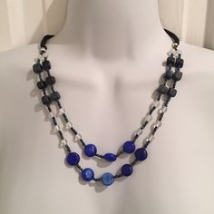 "NWOT blue & black beaded necklace About 21"" long Jewelry Necklaces"