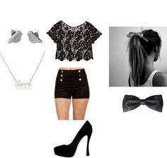 Black high waisted shorts, black pumps, play lacey shirt, bow in hair, ponytail. Perfect Party Outfit.