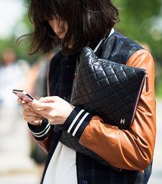 Milly style, street style, leather varsity jacket, chanel bag.