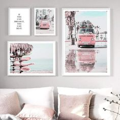 """""""Pink Van Pickup Beach Sea Surfboard Quote Wall Art Canvas Painting Nordic Posters And Prints Wall Pictures For Living Room Decor"""" Room Wall Decor, Living Room Decor, Bedroom Decor, Wall Art Bedroom, Canvas Wall Art, Wall Art Prints, Canvas Prints, Deco Rose, Pineapple Art"""