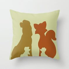 The Fox and The Hound Throw Pillow by Citron Vert - $20.00