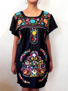 Mexican Mini Dress Black Traditional Tunic Embroidered Handmade Very Elegant and comfortable  Medium