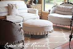 8 Budget-friendly Ways to add Farmhouse French to Your House - Cedar Hill Farmhouse - love the way these drape over the top of the furniture