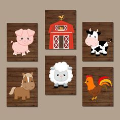 FARM Animals Wall Art Canvas or Prints Country Baby by TRMdesign