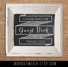 Wedding Chalkboard sign - Printed keepsake sign, custom wedding chalkboard sign, Guestbook, guest book. $19.00, via Etsy.