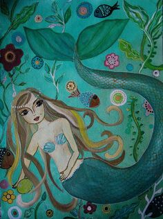 mermaid under the sea painting.seascape.great room design,girl, nursery,whimsical,best gift, birthday, Christmas, thank you #prisarts popular girls bedroom painting art wall-art