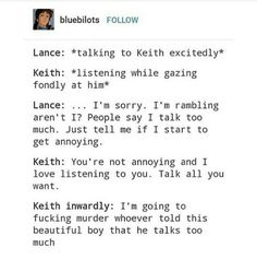 I'm feel as though I have Keith's instincts but lance's attitude. Although my friends call me shiro. I wonder why cause I have done this before.