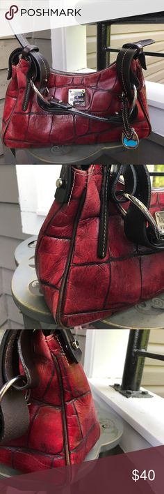 Dooney & Bourke Red Bag Dooney & Bourke croc medium hobo Shoulder bag made from leather. Normal wear and tear and interior has wear . See photos discounted based on the condition. Dooney & Bourke Bags Hobos