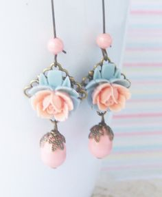 Flower Dangle Earrings Rose Cabochon Earrings Peach Blue by SSSJ, $16.00