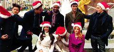 I love this cast. haha Dom playing with Matt's santa hat